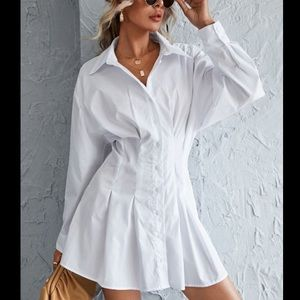 Button Front Shirred Back Shirt Dress